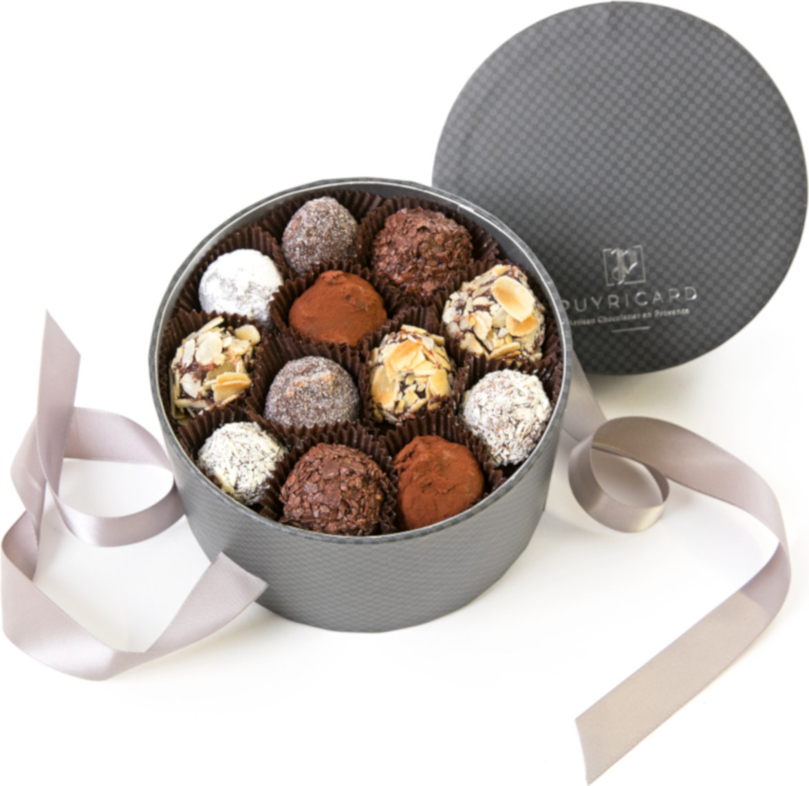 SLIMLINE BOX OF AMANDAS AND AVELINAS IN PRALINE AND ICING SUGAR 150 G
