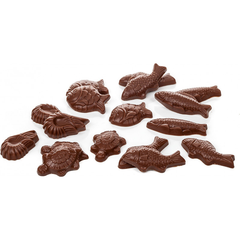 Chat assis en chocolat de Pâques garni 22cm