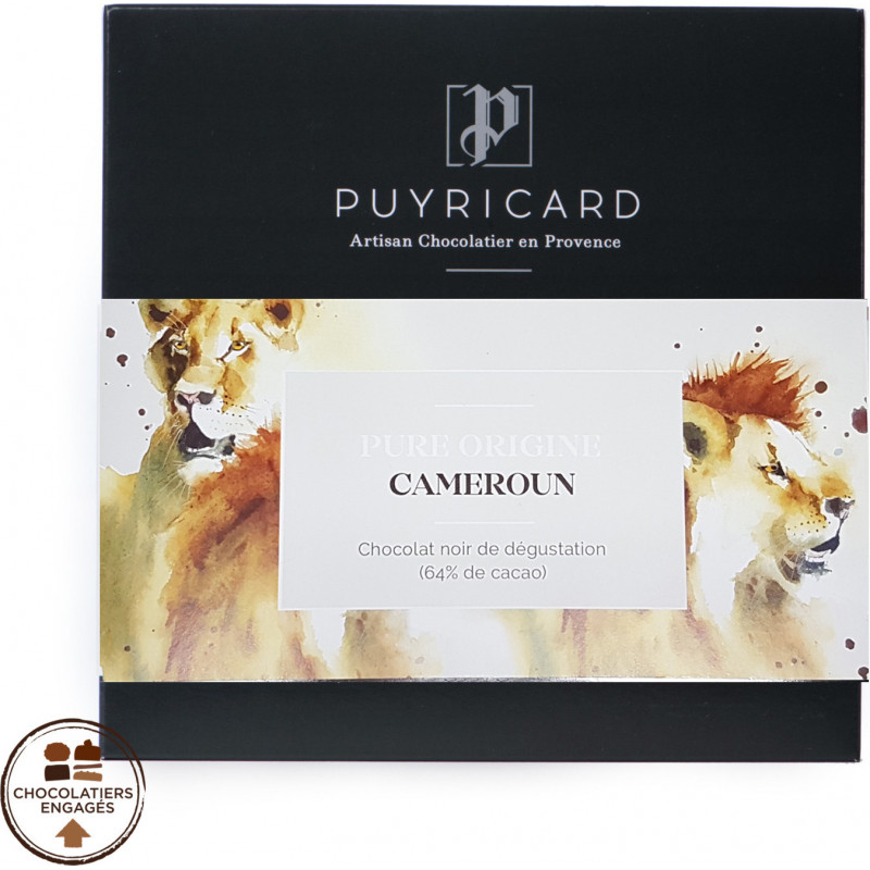 Tablette de Chocolat Noir Pure Origine 64% Cameroun 100g