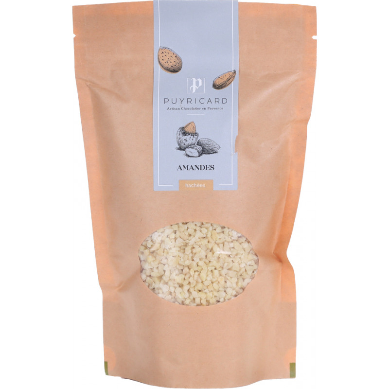Chopped almonds in bags