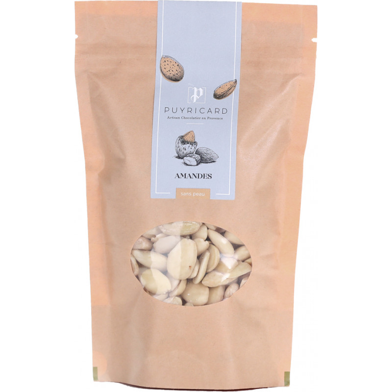 Peeled almonds in bags