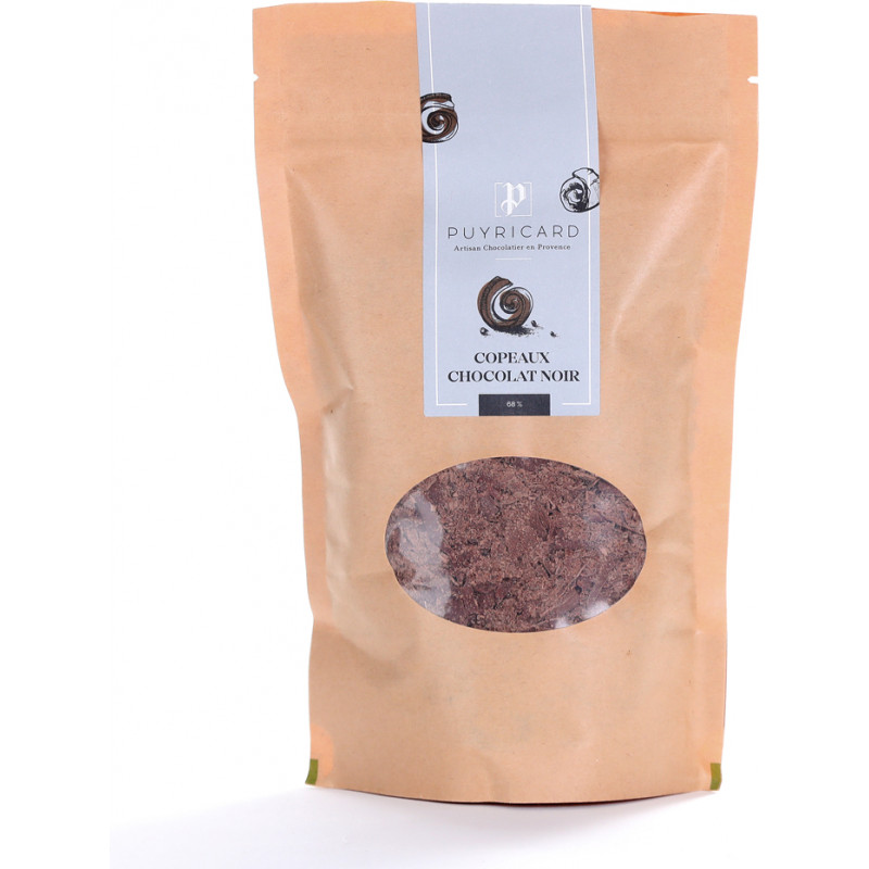 Dark chocolate chips in a bag