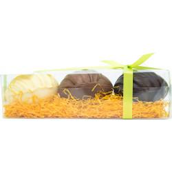 Réglette 3 Oeufs Déco chocolat garnis 110g