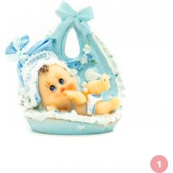 Bébé dans panier bleu figurine 1