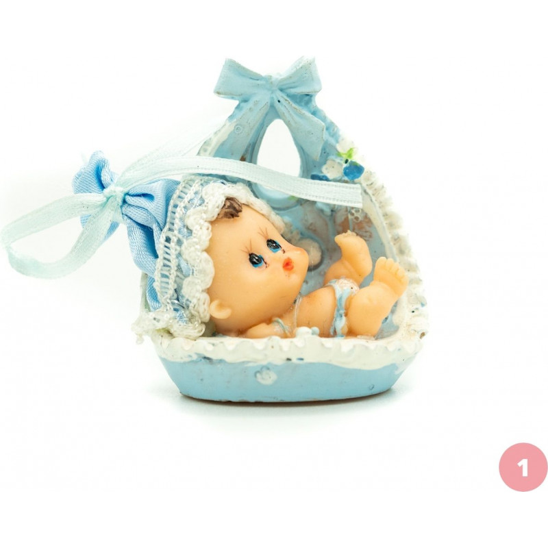 Baby in a blue basket.