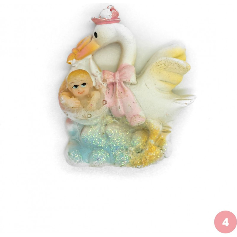 Baby girl and stork