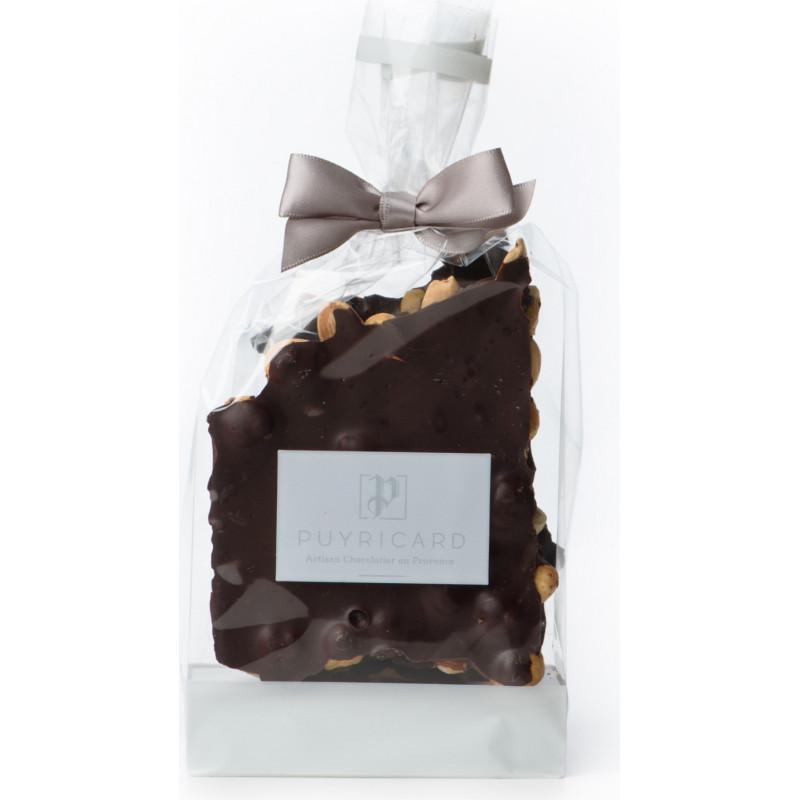 Bloc de chocolat noir ou lait et amandes noisettes