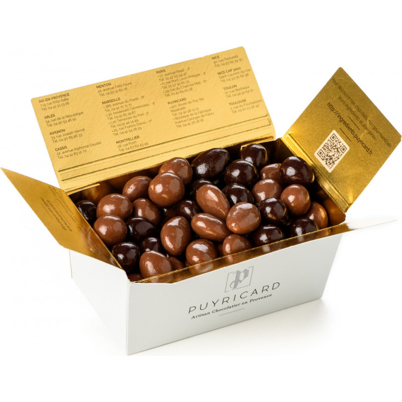 BALLOTIN BOX OF DARK OR MILK CHOCOLATE AMANDAS AND AVELINAS 250 G