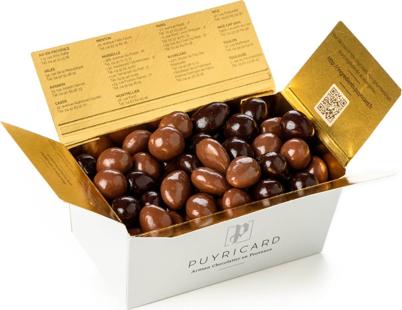 BALLOTIN BOX OF DARK OR MILK CHOCOLATE AMANDAS AND AVELINAS 500 G