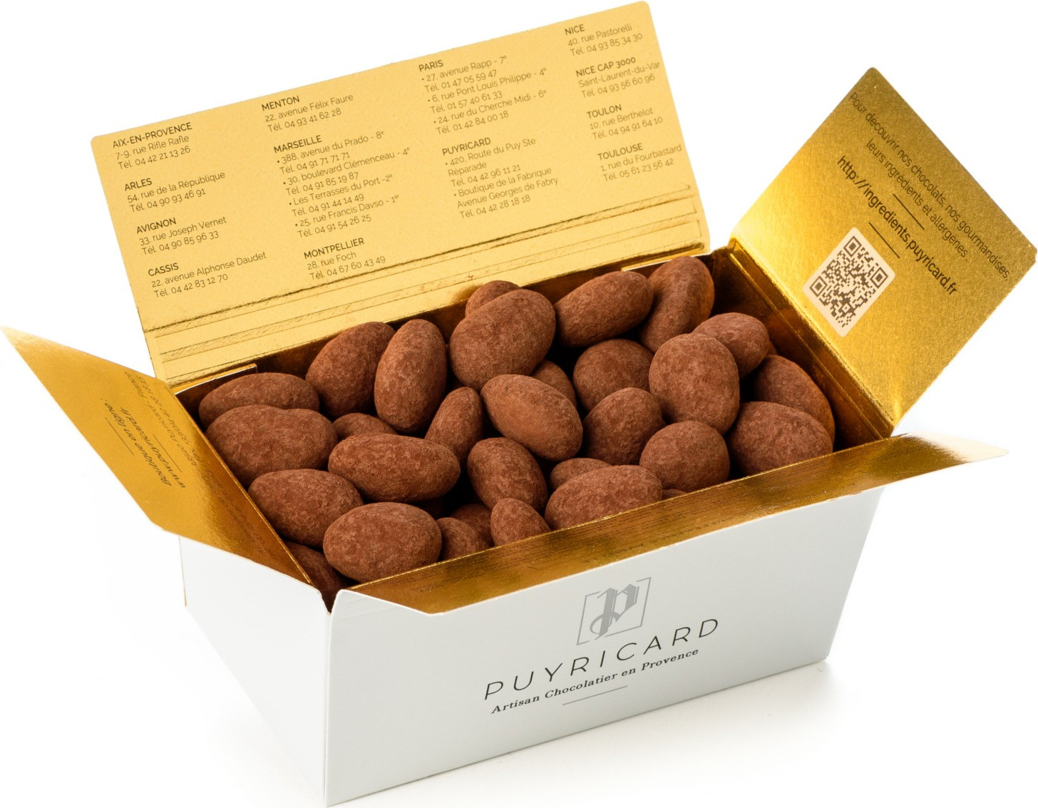 BALLOTIN BOX OF AMANDAS AND AVELINAS IN TRUFFLE PASTE AND COCOA POWDER 500 G