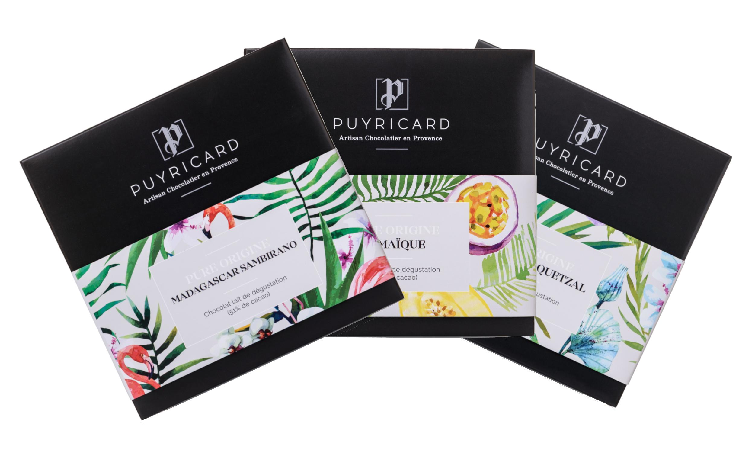 Les tablettes de chocolat Pure Origine Puyricard